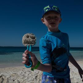 Beach Time by Tom Shope - People Family ( sand, carribean, ocean, beach, boy,  )