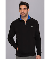 Lacoste - Half Zip Lightweight Sweatshirt (Black/Gipsy Blue) - Apparel