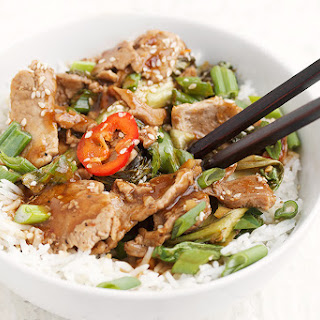 Spicy Orange and Chili Pork Stir-fry with Asian Greens