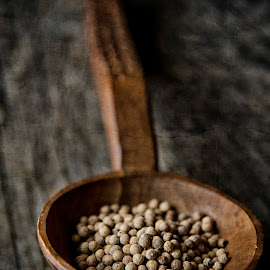 White pepper by Gabriela Lupu - Food & Drink Ingredients ( wood, spice, white, spoon, pepper, rustic )