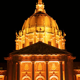 San Francisco City Hall lit up for the SF GIANTS by Bill (THECREOS) Davis - Buildings & Architecture Public & Historical ( city hall, orange, orangeoctober, night picture, san francisco giants, front, light up, night, october, san francisco, sf giants,  )