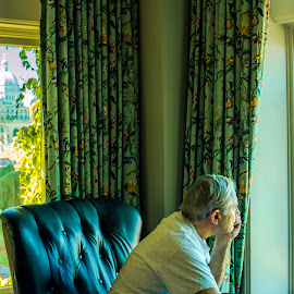 Quiet Contemplation by Penny Lulich - People Portraits of Men ( vacation, victoria, parliament building, empress hotel, man, photography, portrait, british columbia )