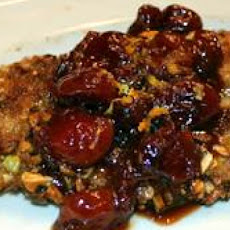 Pistachio Crusted Chicken Breasts with Sun-Dried Cherry and Orange Sauce