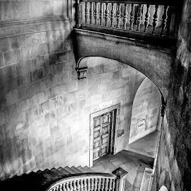 Staircase, Granada, Spain by Steve Griffiths - Buildings & Architecture Other Interior ( stairs, winding, staircase, stone, door,  )