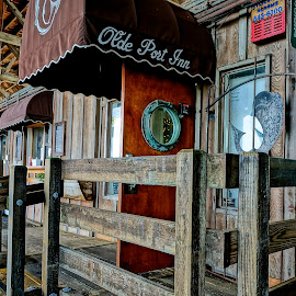 Eating at the Pier by Barbara Brock - City,  Street & Park  Markets & Shops ( wooden pier and cafe, ocean restraurant, restaurant on the pier, beachside restaurant )
