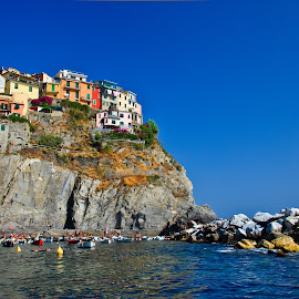 Manarola by Dmitry Samsonov - Landscapes Travel ( fish village, cinque terre, village, spezia, manarola, rocks, italy )