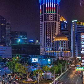 Night time by Vibeke Friis - City,  Street & Park  Skylines ( lights, street, evening, shanghai, china )
