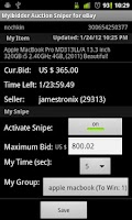 Screenshot of Myibidder Sniper for eBay Pro