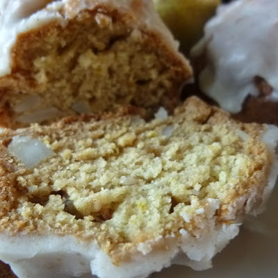Lemon glazed Cardamom Pear Macadamia Tea Bread