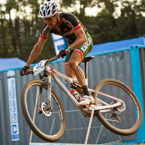 SA star Rourke Croeser at the World Cuo 2014, Cascades. by Simon Joubert - Sports & Fitness Cycling ( soth africa, mountain biking, kwazulu-natal, cross country, pietermaritzburg, rourke croeser, simon joubert )