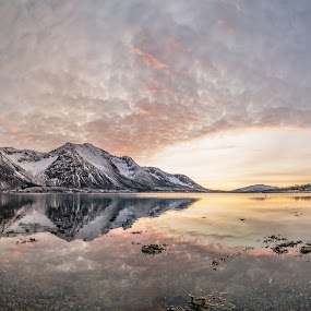 Panoramic sunset by Benny Høynes - Landscapes Sunsets & Sunrises ( clouds, sky, sunset, reflections, sea, norway )