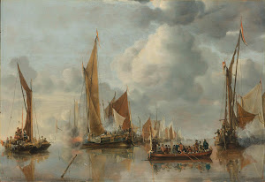 RIJKS: Jan van de Cappelle: The Home Fleet Saluting the State Barge 1650