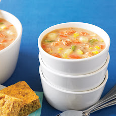 Salmon Corn Chowder with Quick & Healthy Corn Bread