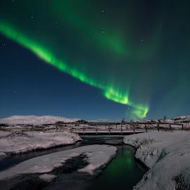 aurora by Viktoras Kaubrys - Landscapes Prairies, Meadows & Fields ( iceland, winter, snow, northern lights, aurora, night )