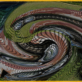 Junkyard by Joerg Schlagheck - Digital Art Abstract ( old, warped, pattern, green, nice, good, rust )