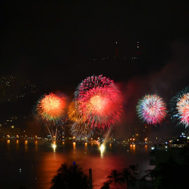 One Night  by Kamila Romanowska - Abstract Fire & Fireworks ( acapulco, new year, mexico, fireworks, celebration )