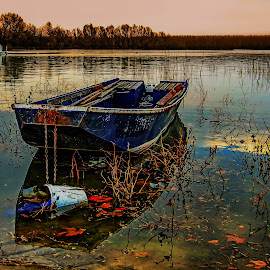 Blue boat by Dragana Vojinovic - Landscapes Sunsets & Sunrises ( boats )