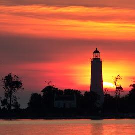 by Catherine Tolton - Landscapes Sunsets & Sunrises ( water, southampton, canada, lake huron, sunset, chantry island, lighthouse, lake, july )
