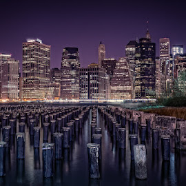 Sticks by Jeffrey Bucovetsky - City,  Street & Park  Skylines ( night, cityscape, new york, landscape )