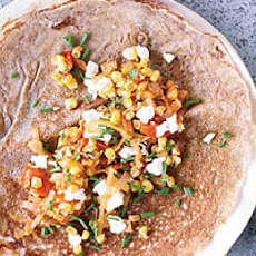 Buckwheat Crêpes with Corn, Tomatoes and Goat Cheese
