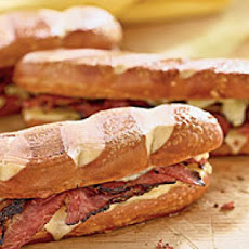 Pastrami and Swiss on Pretzel Rolls