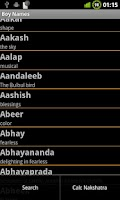 Screenshot of Baby Names &  Nakshatra Calc.