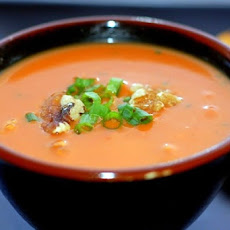 Cheddar and Roasted Red Bell Pepper Soup