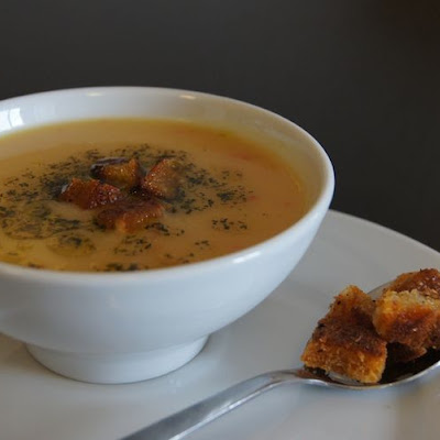 Turkish Red Lentil Soup with Minted Butter and Spiced Croutons