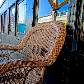 Train Shops by Barbara Brock - Artistic Objects Furniture ( train shops, rattan chair, converted trains, train markets, furniture )