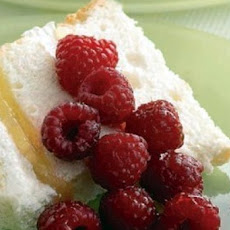 Angel Cake with Tipsy Raspberries