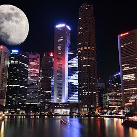 Singapore Skyline by Cinta Mamat - City,  Street & Park  Skylines ( skyline, city night, singapore, nightlife )