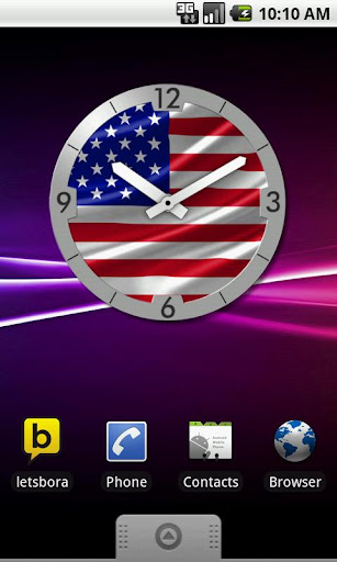 USA Flag Analog Clock Lite
