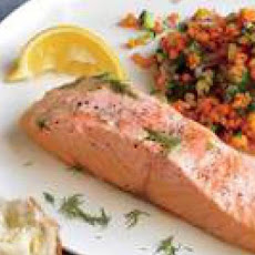 Salmon with Pink Lentil Salad