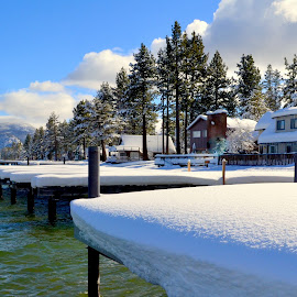 Tahoe Boat Docks by Brian Blood - Buildings & Architecture Homes ( shoreline, beach, homes, lake tahoe,  )