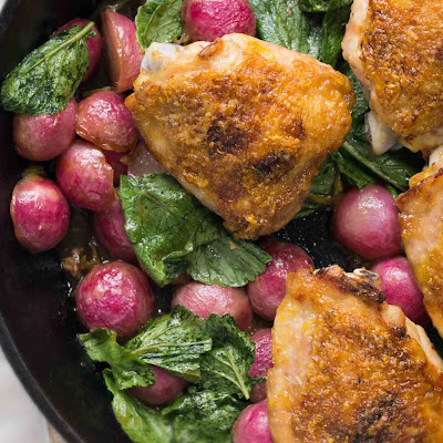 Honey-Lemon Roasted Chicken Thighs & Radishes