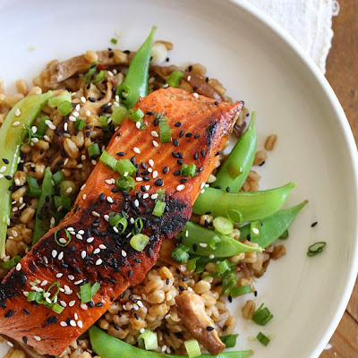 Asian Farro Medley with Salmon