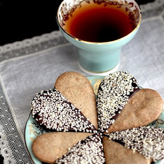 Buckwheat Shortbread Hearts Dipped in Chocolate and Sesame