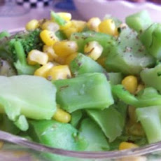 Steamed Broccoli and Corn with Marjoram
