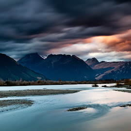 Mt. Doom by Jay Gould - Landscapes Waterscapes ( colored clouds, water, fall, 2011, long exposure, new zealand )