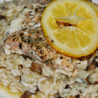 Mushroom Risotto with Baked Lemon Salmon