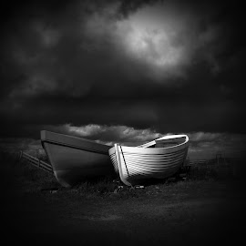 High and Dry by Nigel Maudsley - Transportation Boats ( black and white, boats, dark, fine art )