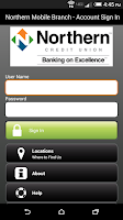 Screenshot of Northern CU Mobile Banking