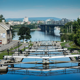 Rideau Canal Locks near the Chateau Laurier by Mike O'Connor - Transportation Boats ( boats, locks, ottawa river, bridge, transportation, rideau canal,  )