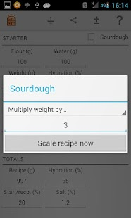 Sourdough calculator - screenshot