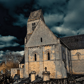 Scary Graveyard by John Gross - Buildings & Architecture Other Exteriors ( church, stormy sky, spooky, digital manipulation, architecture, graveyard )