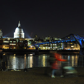 Stroller by the Bridge by DJ Cockburn - City,  Street & Park  Skylines ( lights, london, thames, millennium bridge, night, st paul's cathedral, motion blur )