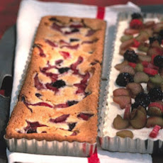 Rhubarb and Blackberry Snack Cake