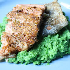 Pan-fried Rainbow Trout with Basil Pea Puree