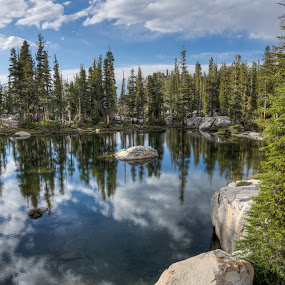 Ten Lakes by Walter Hsiao - Landscapes Waterscapes ( clouds, mirror, reflection, national park, yosemite, california, forest, ten lakes, lake )