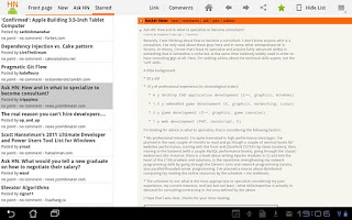 Screenshot of HackerNews HD+ for tablets